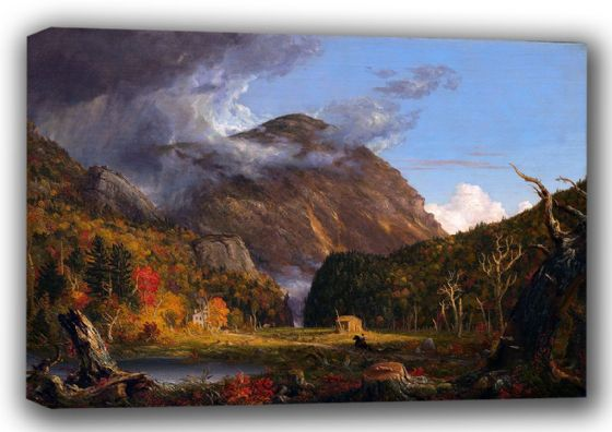 Cole, Thomas: Crawford Notch (A View of the Mountain Pass) Landscape Fine Art Canvas. Sizes: A3/A2/A1 (00786)